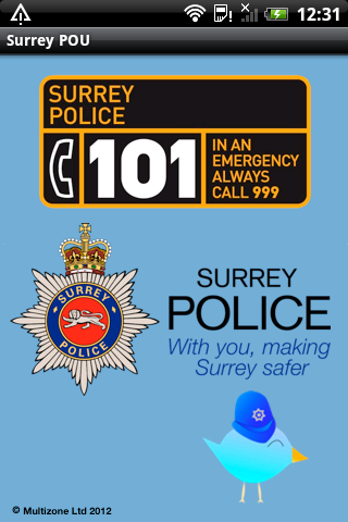 Surrey Police Officer Update Utility Spash Screen